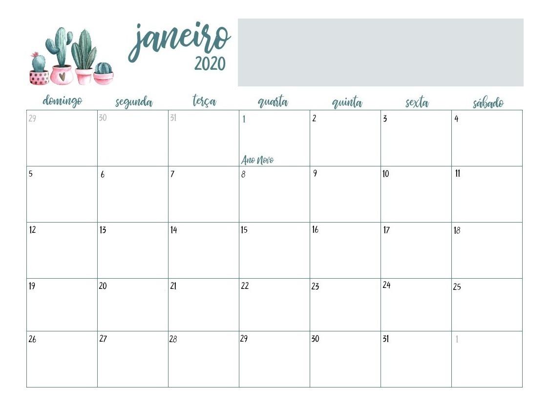 Calendario 2020 Com Feriados Para Impressao.Calendario 2020 Cactos Verde Pdf Feriados Nacionais Planner