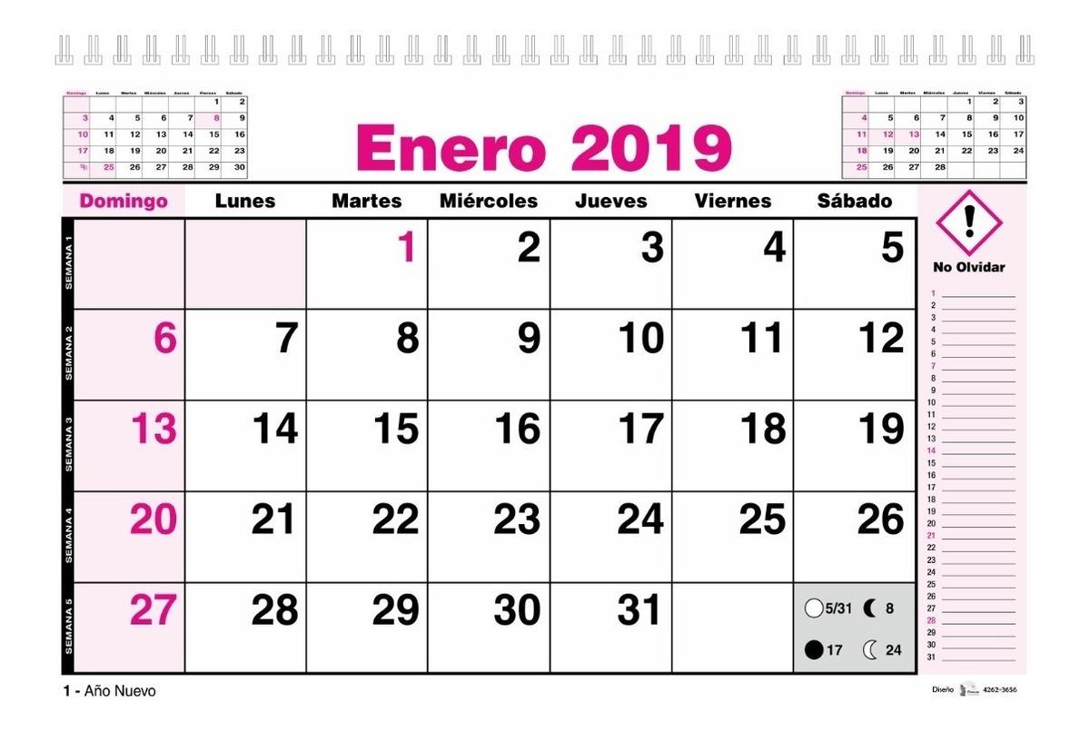Calendario 2020 Y 2019.Calendario 2020 Planificador Mensual Horizontal 22x34 Cm
