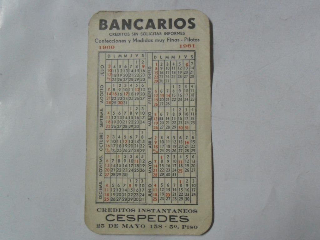 Calendario Del 1961.Calendario Almanaque 1960 Bancario Cespedes 1961 Cumpleanos 99 00