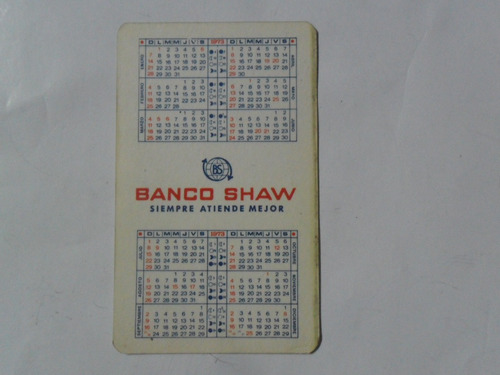 calendario almanaque 1973 banco shaw  cumpleaños