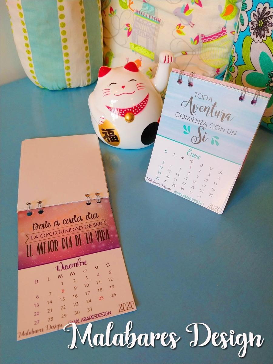 Calendario Almanaque 2020 Moderno Con Frases Para Escritorio