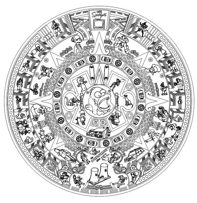 Calendario Azteca Vectores.Calendario Azteca Los Simpsons Vector Laser Serigrafia Cnc
