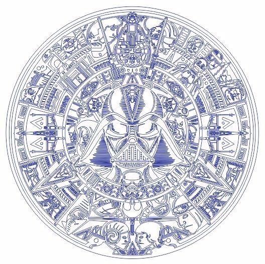 Calendario Vectorizado.Calendario Azteca Starwars Vector Cnc Grabadolaser Srgrfia