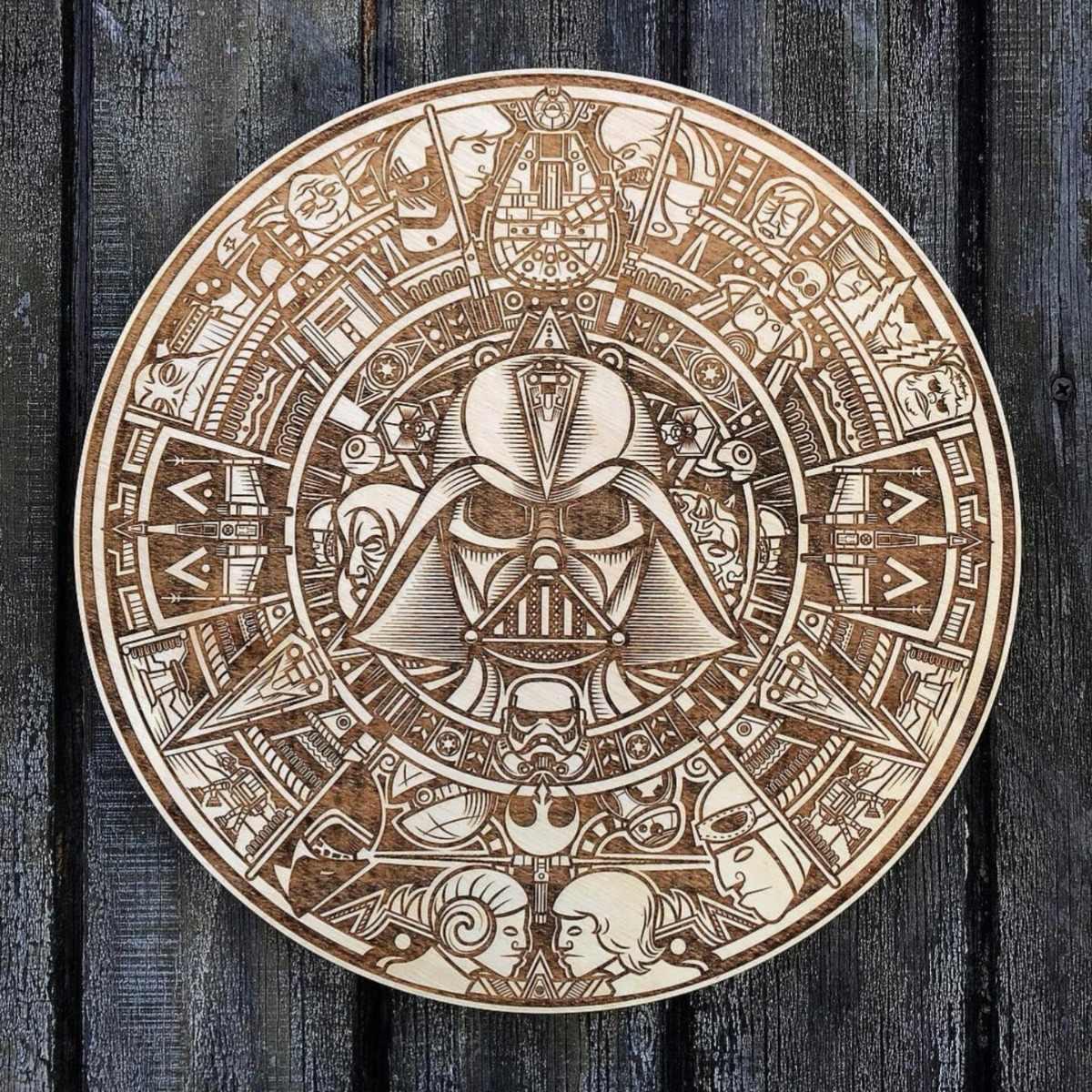 Calendario Azteca Vectores.Calendario Azteca Starwars Vector Cnc Grabadolaser Srgrfia