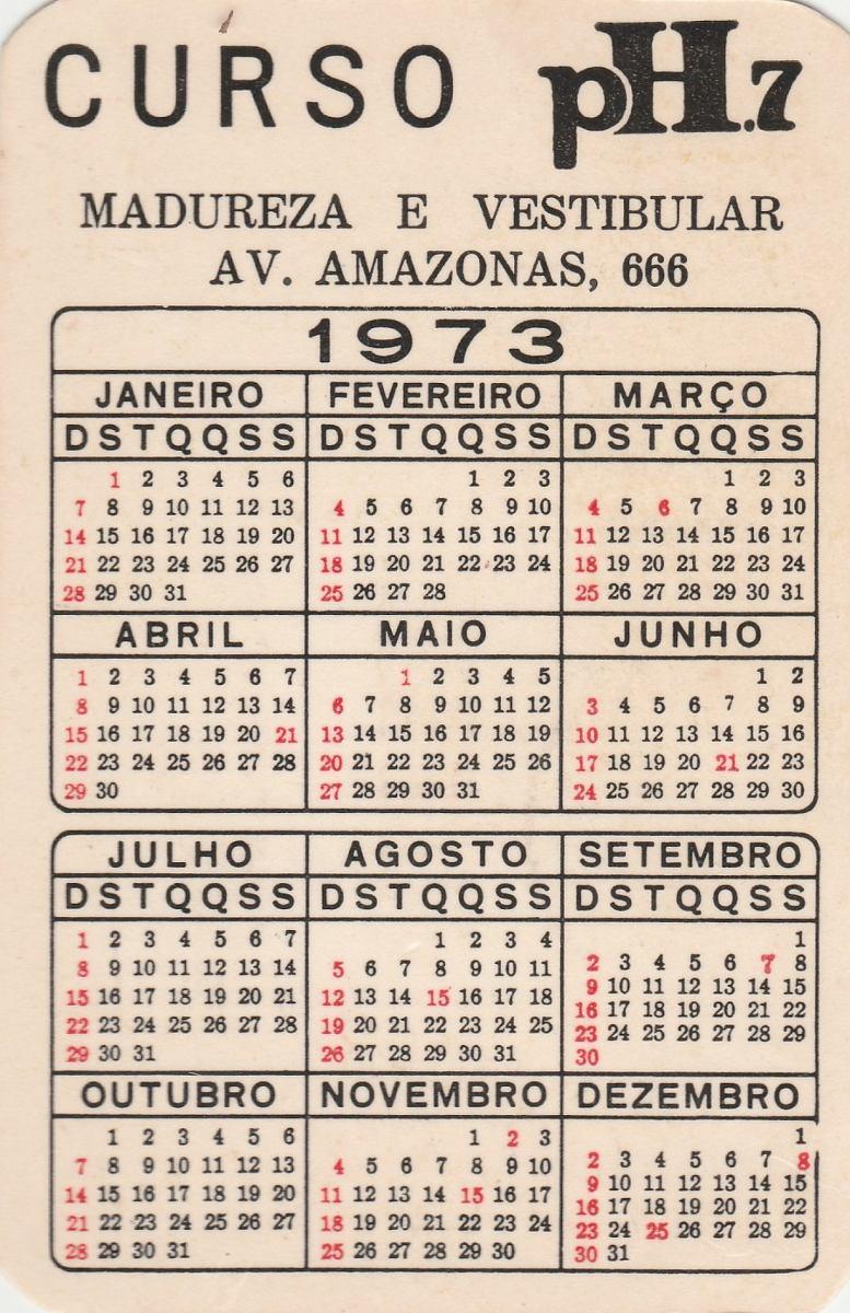 Calendario 1973.Calendario Bolso 1973 Curso Madureza E Vestibular F1
