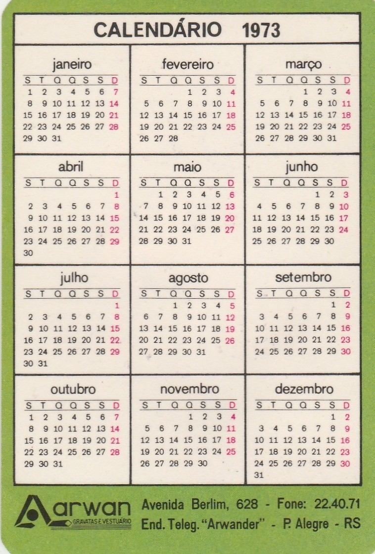 Calendario 1973.Calendario Bolso 1973 Gravatas Arwan Aj9