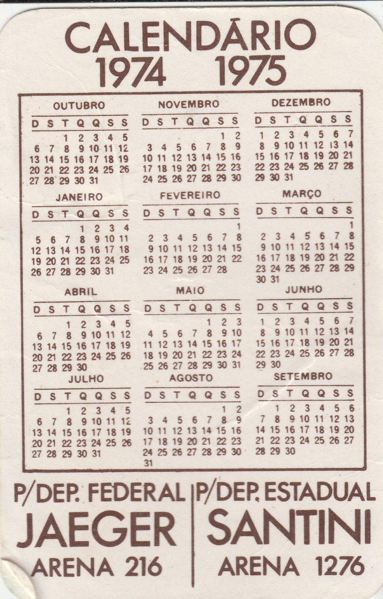 Calendario 1974.Calendario Bolso 1974 Calendario Politico 74 75 F2