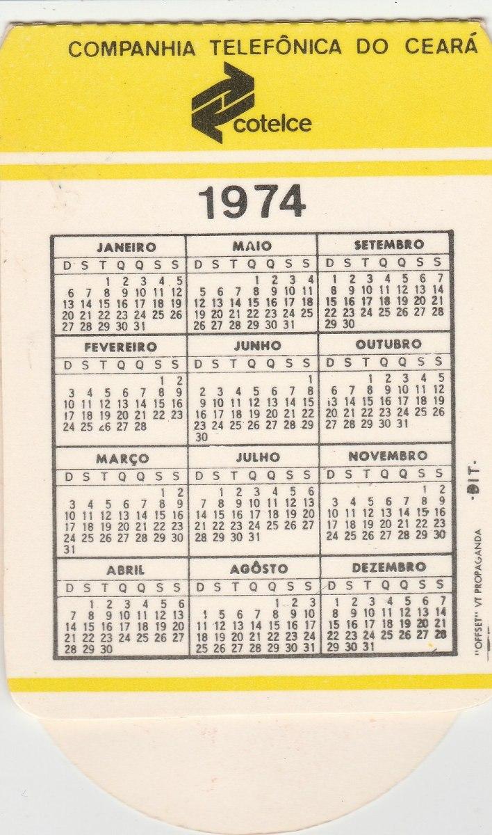 Calendario 1974.Calendario Bolso 1974 Cotelce Cia Telefonica Do Ceara F2