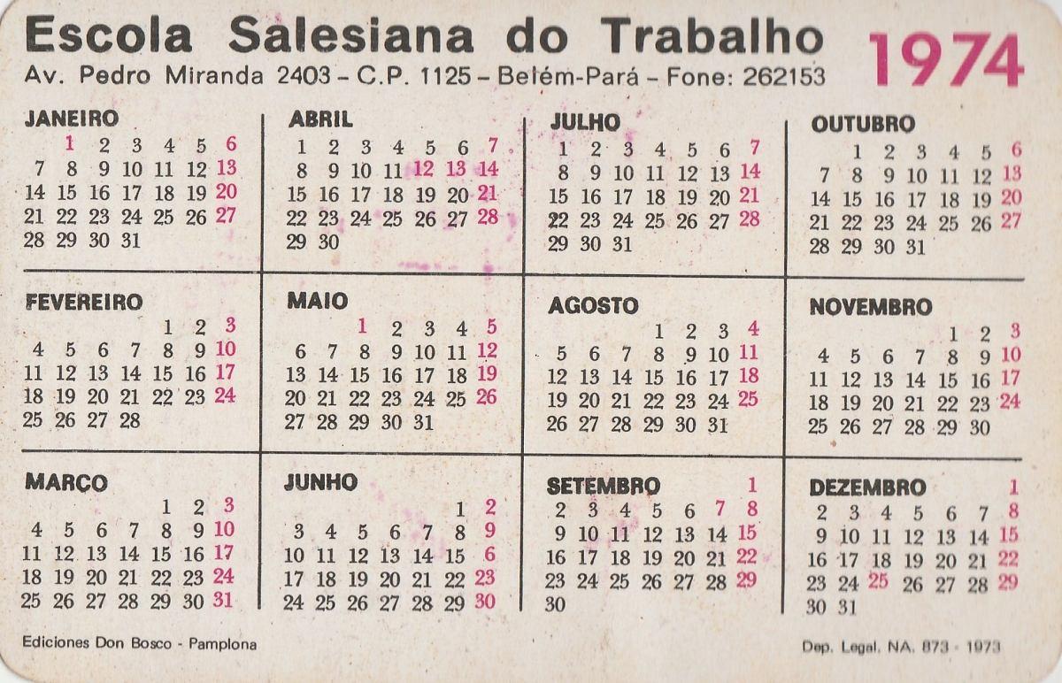 Calendario 1974.Calendario Bolso 1974 Escola Salesiana Do Trabalho F2