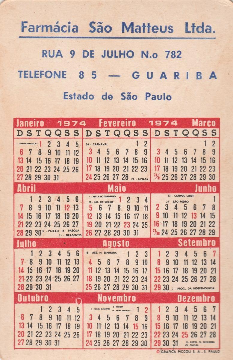 Calendario F2.Calendario Bolso 1974 Imagem Cidade De Goania Go F2