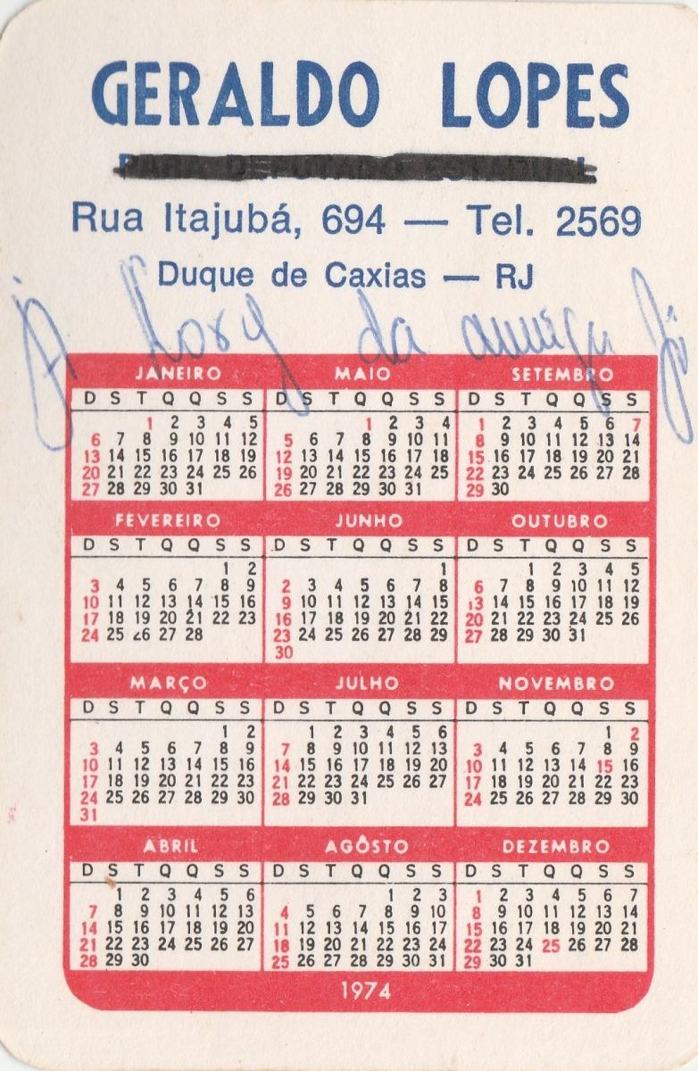 Calendario 1974.Calendario Bolso 1974 Pra Frente Brasil Bandeira F2