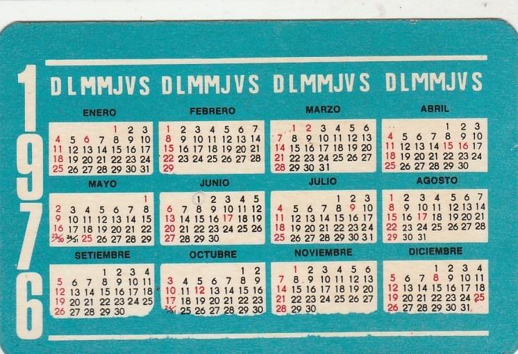 Calendario 1976 Argentina.Calendario Bolso 1976 Atacado De Lingerie Argentina Q1