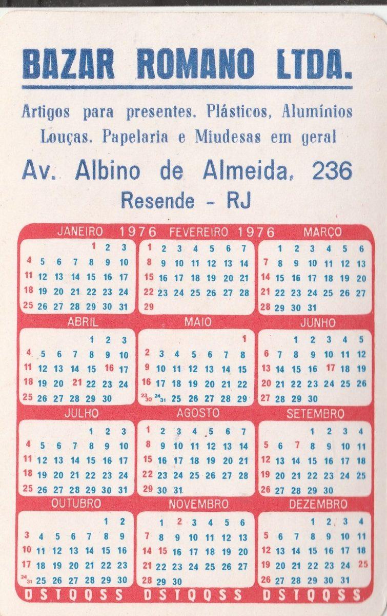Calendario De 1976 Completo.Calendario Bolso 1976 Imagem Aparecida Do Norte Sp F4