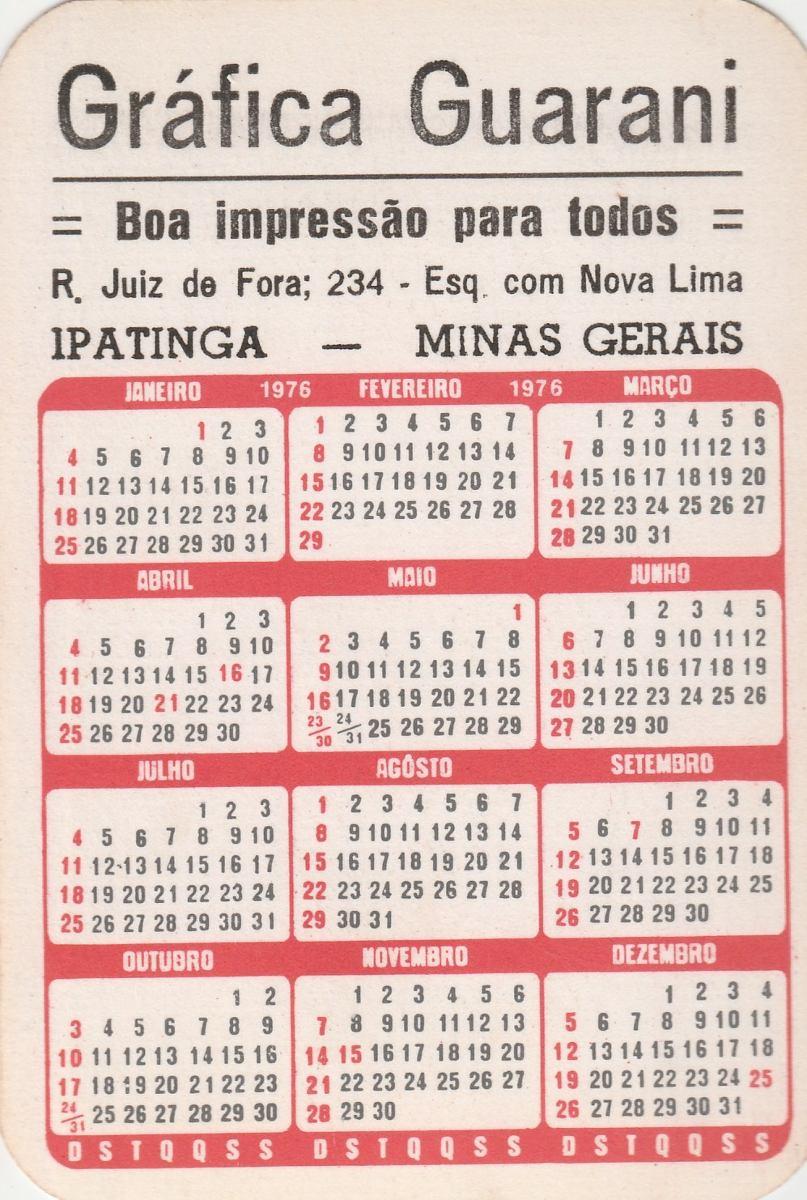 Calendario 1976.Calendario Bolso 1976 Imagem Bandeira Do Brasil F4