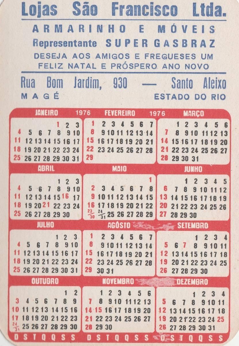 Calendario 1976.Calendario Bolso 1976 Imagem Cristo Redentor Rj F4