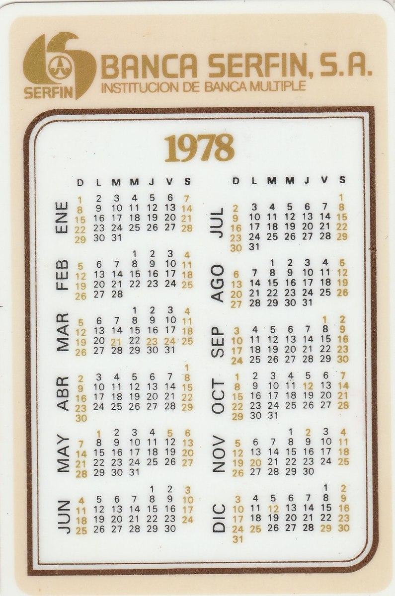1978 Calendario.Calendario Bolso 1978 Banco Serfin Sa Ai1