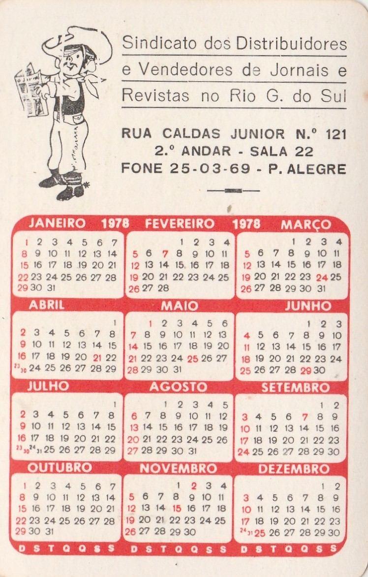 1978 Calendario.Calendario Bolso 1978 Imagem De Porto Alegre Rs Q4