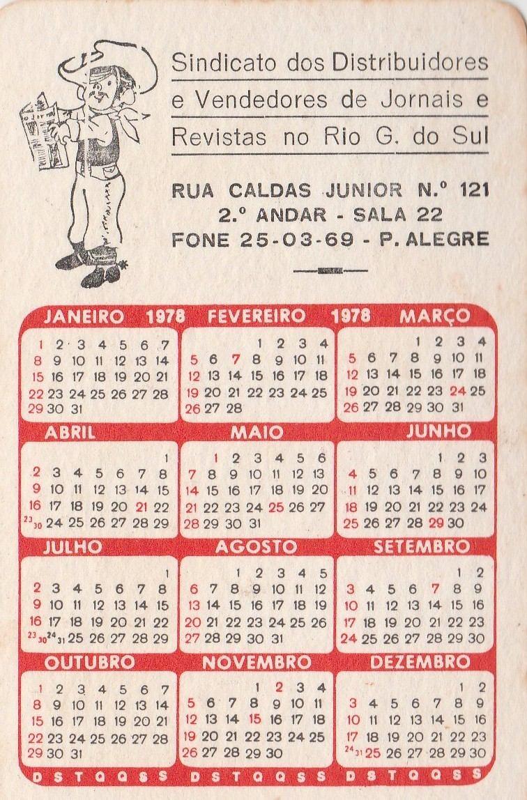 Calendario 1978.Calendario Bolso 1978 Imagem De Porto Alegre Rs Q4