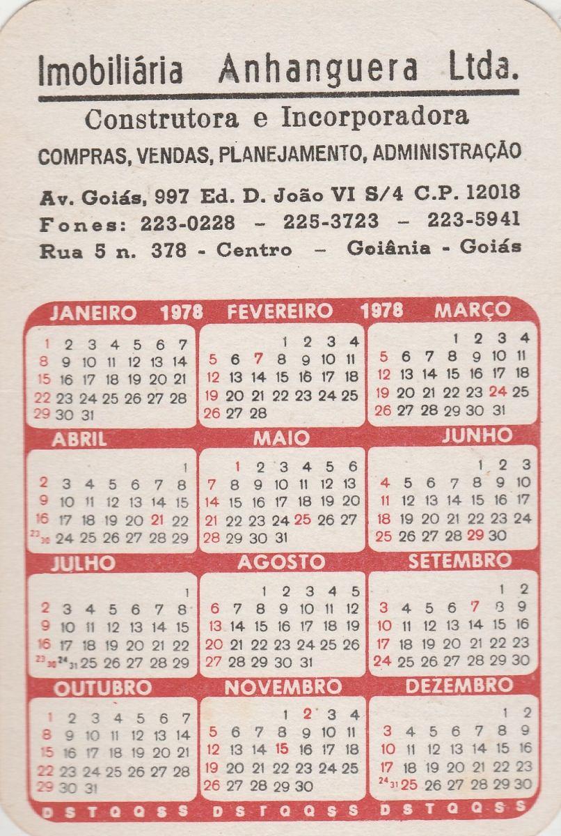 1978 Calendario.Calendario Bolso 1978 Imagem Estatua Do Lacador Rs Ai1