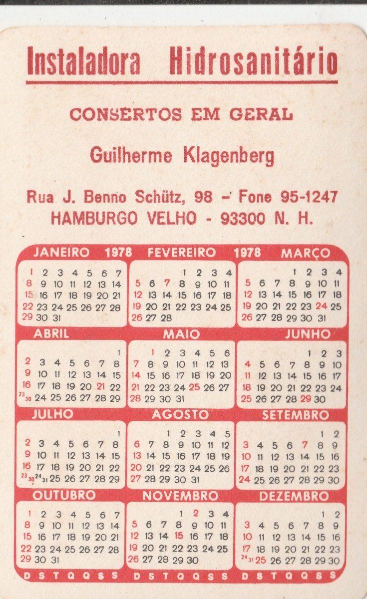 Calendario De 1978.Calendario Bolso 1978 Imagem Geraldao Recife Ai1