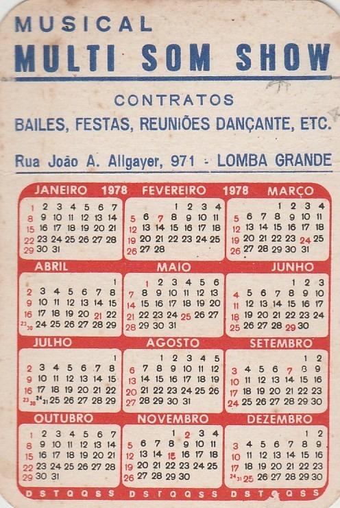 Calendario De 1978.Calendario Bolso 1978 Imagem Mulher Nua Q1