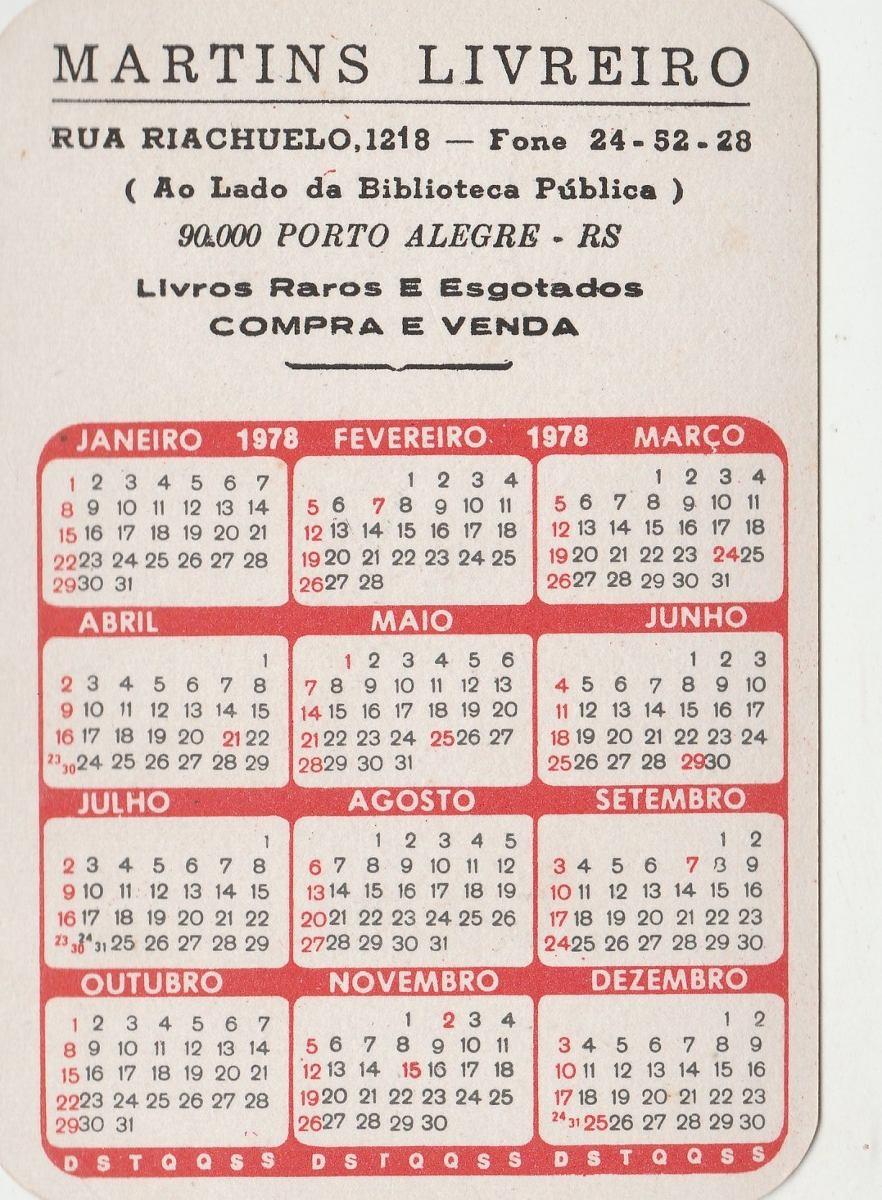 1978 Calendario.Calendario Bolso 1978 Imagem Pr Santos Andrade Ai1