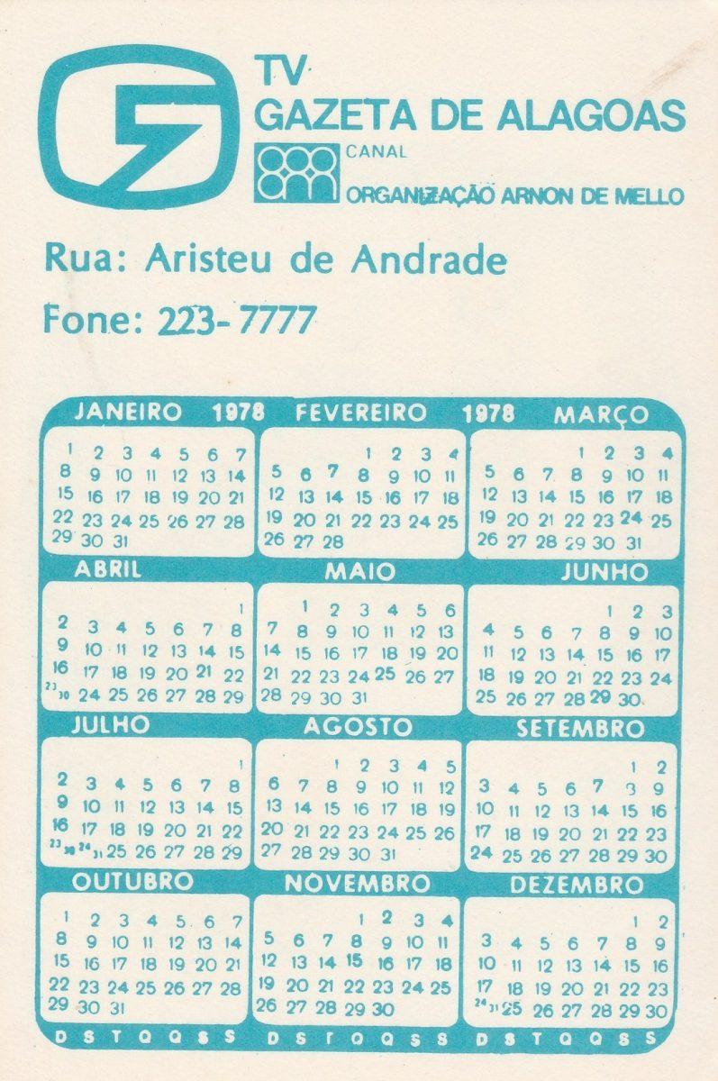 1978 Calendario.Calendario Bolso 1978 Tv Gazeta De Alagoas Ai1