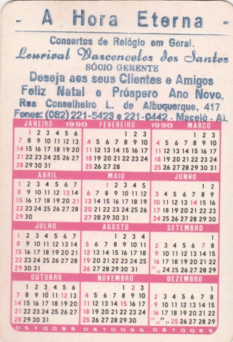 1990 Calendario.Calendario Bolso 1990 Imagem Macaco Tenista D4