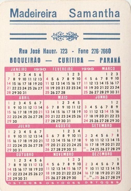 1990 Calendario.Calendario Bolso 1990 Menina Com Patinhos Aj3