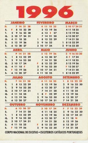 Calendario 1996.Calendario Bolso 1996 Escoteiros Portugal An2