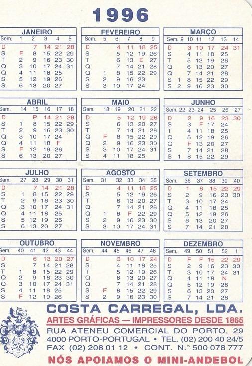 Calendario 1996.Calendario Bolso 1996 F C Porto Bambis Portugal Aj5