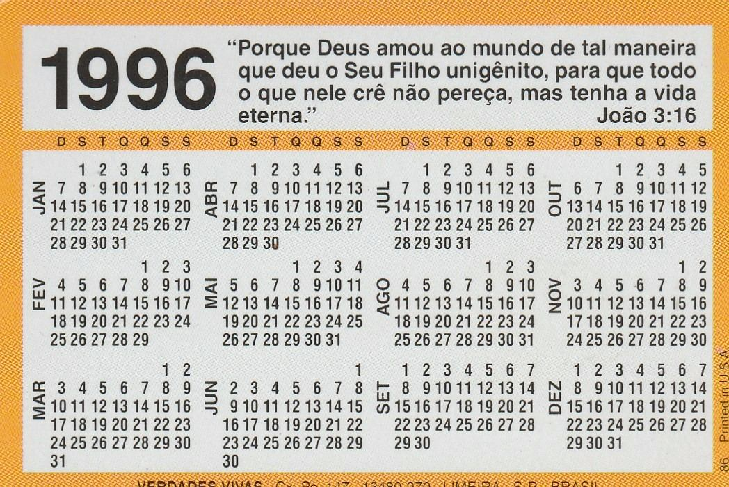 Calendario 1996.Calendario Bolso 1996 Mensagem Biblica An2