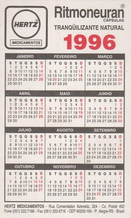 Calendario 1996.Calendario Bolso 1996 Ritmoneuran Capsulas Aj5