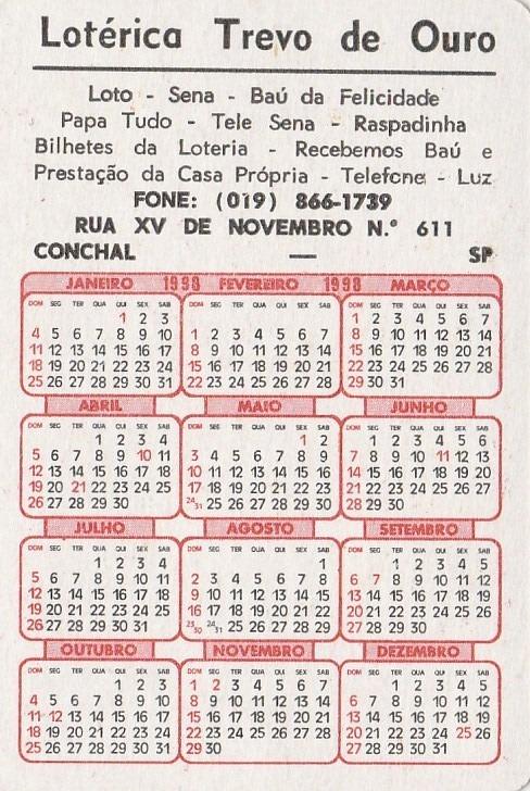 1998 Calendario.Calendario Bolso 1998 Calendario De Pesca Aj7