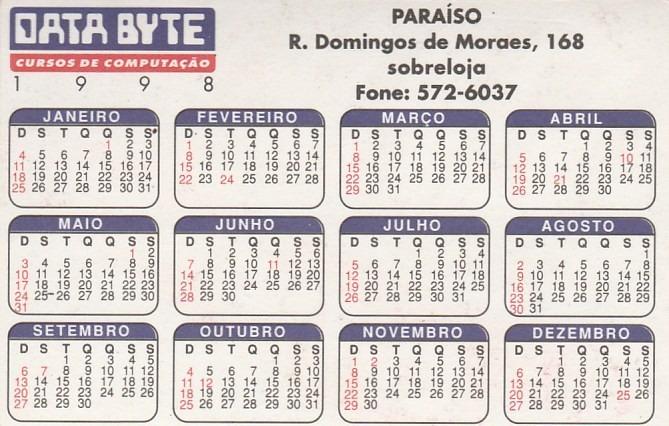 1998 Calendario.Calendario Bolso 1998 Data Byte Cursos Aj7