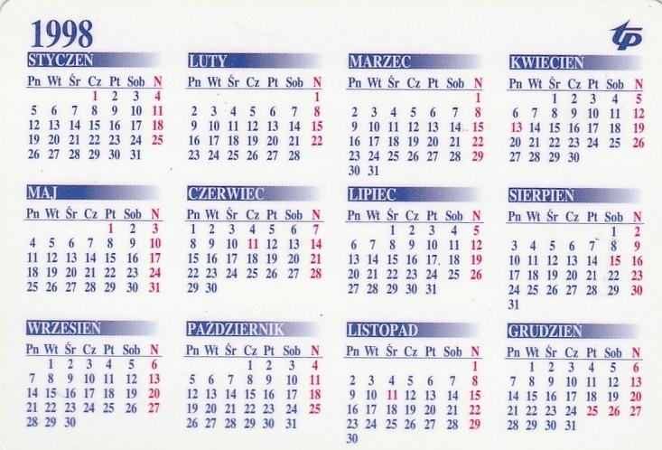 1998 Calendario.Calendario Bolso 1998 Telekomunikacja Polonia Aj7