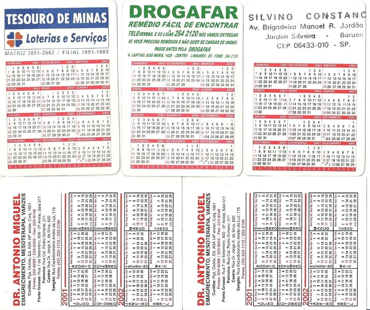 Calendario Bolso 2001 Charge Desenhos E Ursos B1 R 17 55