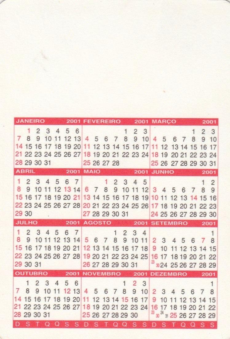 Calendario 2001.Calendario Bolso 2001 Mensagem Biblica Ab6