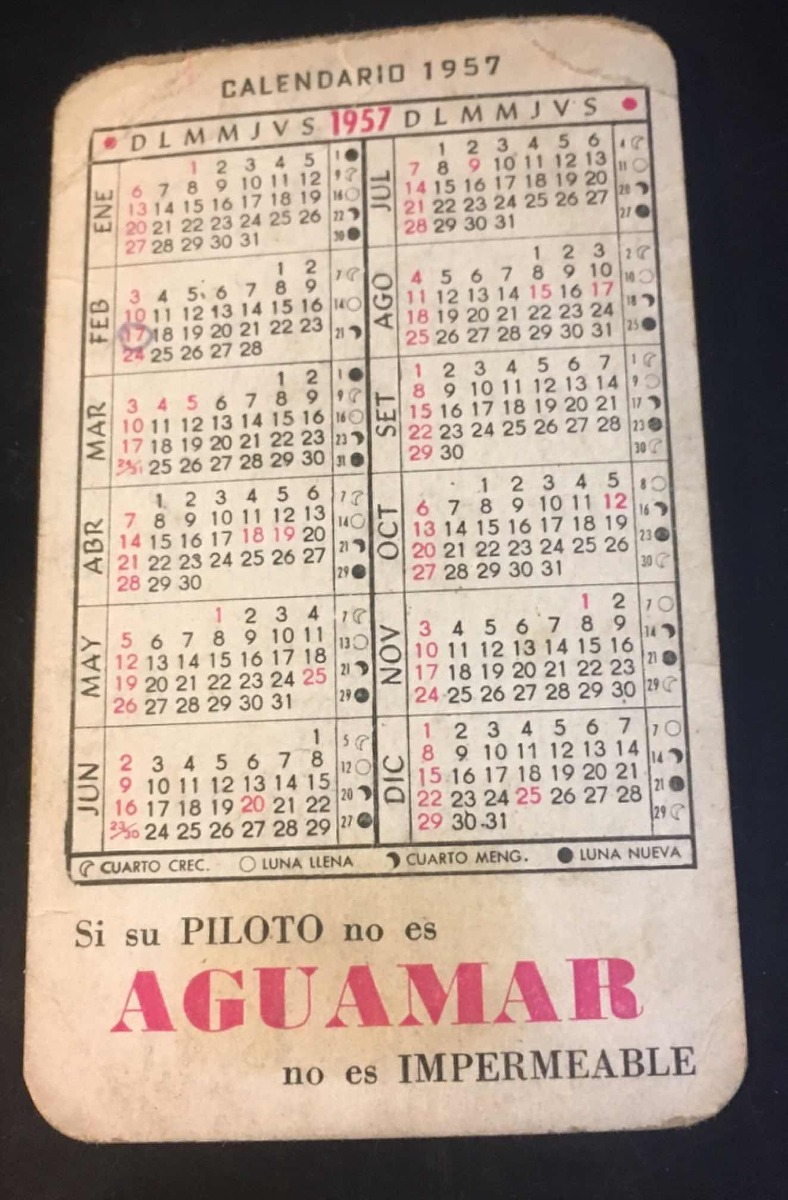 Calendario Del Ano 1957.Calendario De Bolsillo Erotico Ano 1957 100 00