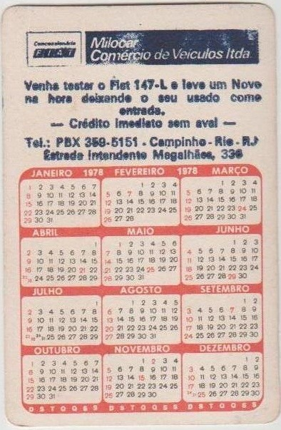 Calendario De 1978.Calendario De Bolso Imagem Brasilia 1978 Cn
