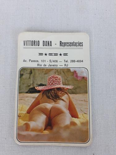calendário de bolso mulher nua praia propaganda antiga 1976