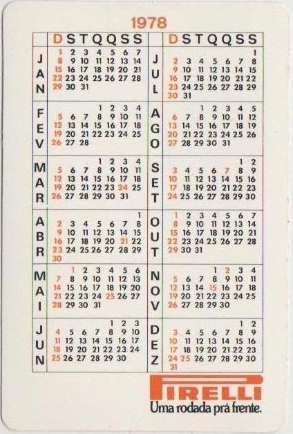 1978 Calendario.Calendario De Bolso Pneus Pirelli 1978 Cn
