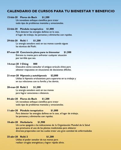 calendario de cursos de terapias para tu bienestar