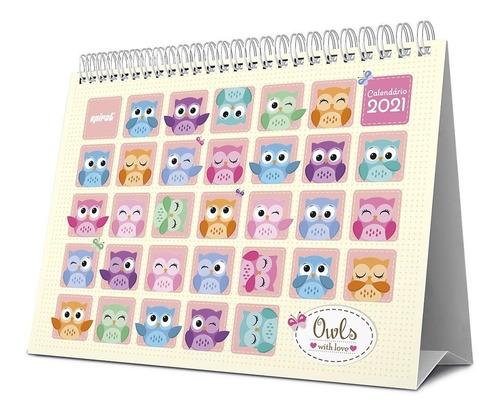 calendário de mesa 2021 corujinhas 210511 spiral   pt 1 un