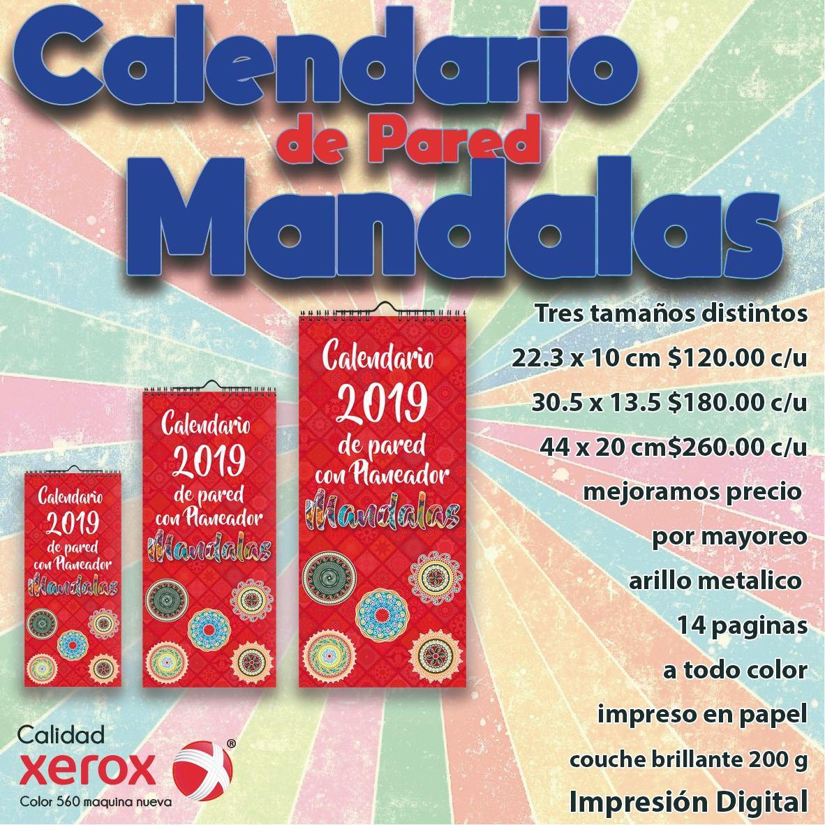 Calendario De Pared 2019 Mandalas - $ 40.00 en Mercado Libre