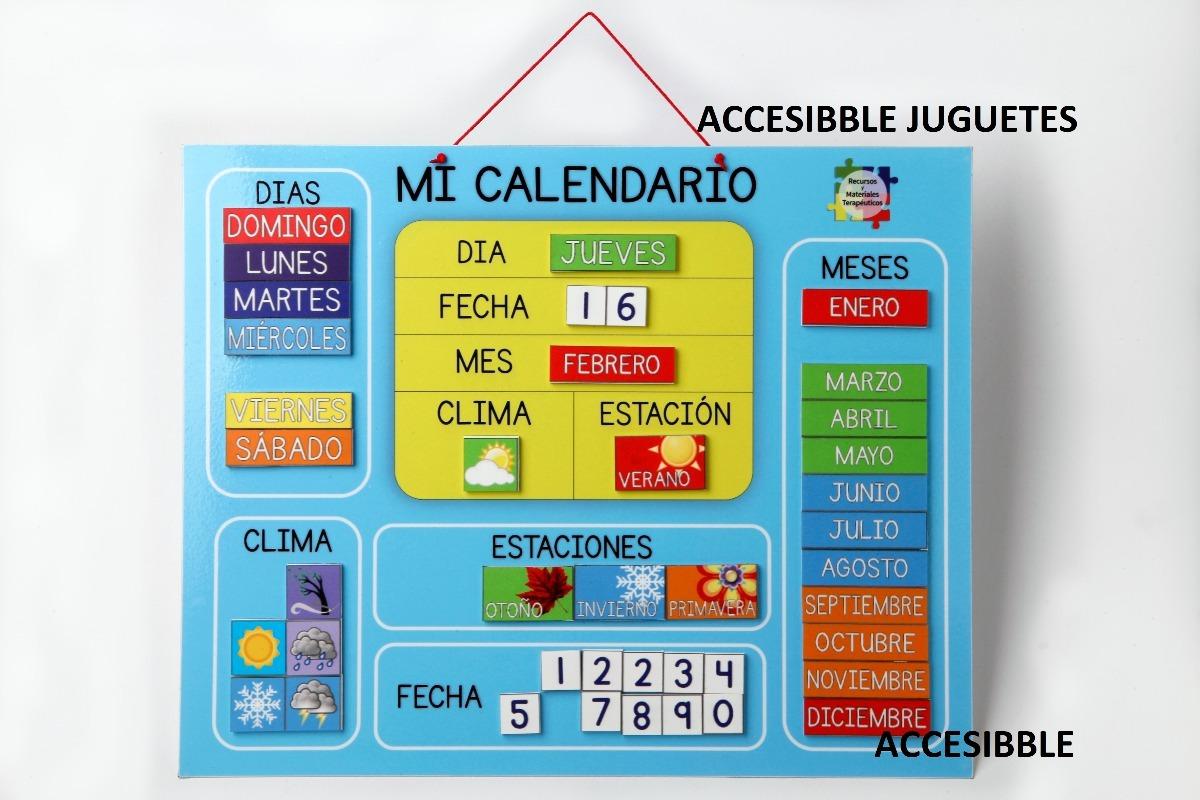 Calendario Imantado Para Ninos Dias Meses Clima Estaciones 1 890