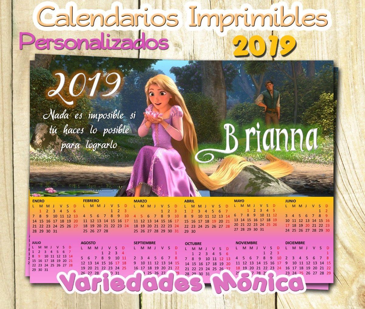 Calendario 2019 Disney Para Imprimir.Calendario Imprimible Personalizado Princesas Disney 2019