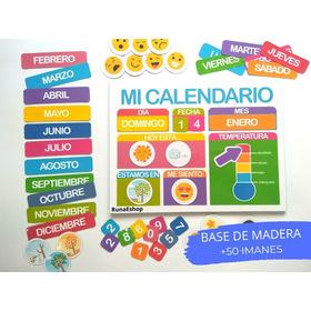 Calendario Magnético - Base De Madera Imantada + 50 Imanes