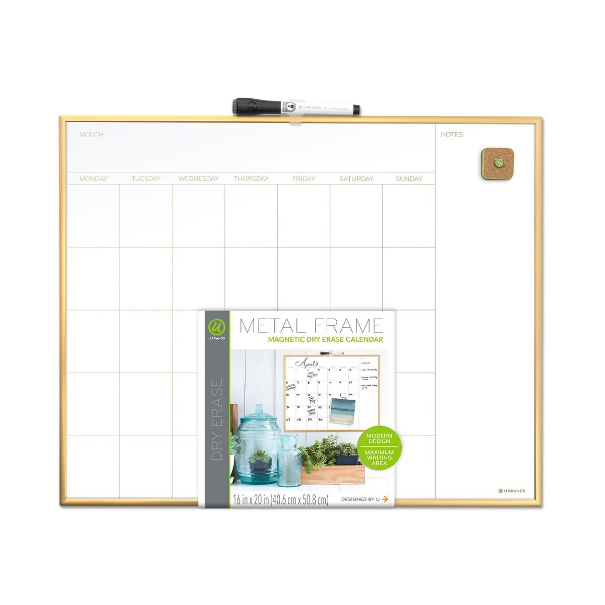 Calendario Mensual De U Brands Tablero De Borrado En Seco, 2 ...