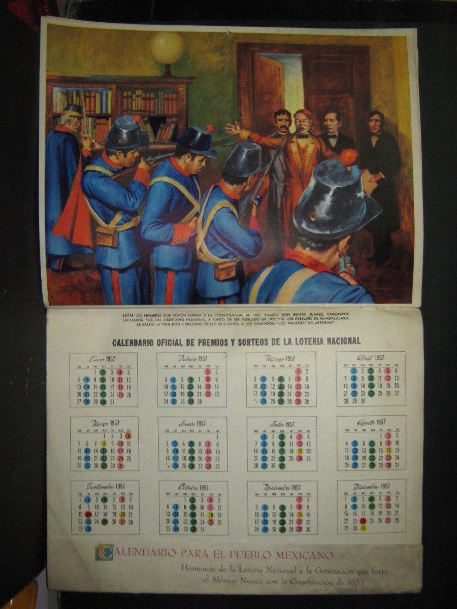 Calendario Del Ano 1957.Calendario Mexicano 1957 En Homenaje A La Constitucon Del 57 350 00